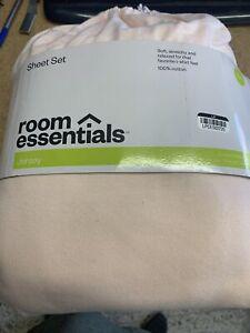 Room Essentials Jersey Sheet Set Twin 100% Cotton Charming Pink Bedding Set NEW