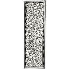 Safavieh Chelsea White / Black Wool Runner 2' 6 x 10'