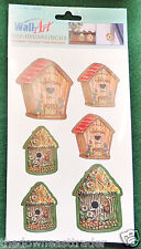 6 (1 Sheet) Bird Country Birdhouse Wall Art Self Stick Adhesive Decals Accents
