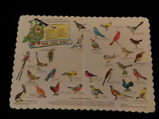 Vintage 1950's -1960's Can You Name Your State Bird Paper Placemat Quiz Test A74