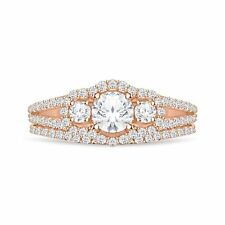 14k Rose Gold Over Three Stone Diamond Engagement Ring Wedding Band Bridal Set