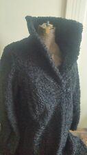 VTG Persian lamb fur Black Long Coat Women Sz. S / M Stunning❤ with hat