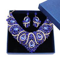 Women's Bridal Austrian Crystal Teardrop Cluster Necklace Earrings Jewelry Set
