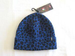 Womens Mens Levis Made In Italy Blue Cheetah Print Cuffed Beanie Fashion Leopard