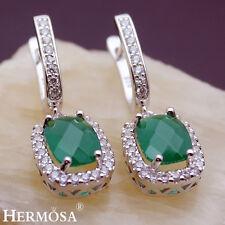 75% OFF 925 Sterling Silver Handmade Green Emerald Natural Topaz Earrings