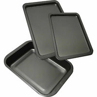 3 PIECE NEW LARGE NON STICK OVEN BAKING ROASTING PAN DISH ROAST TIN & TRAYS SET