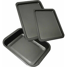 3 PIECE NEW LARGE NON STICK OVEN BAKING ROASTING PAN DISH ROAST TIN & TRAYS SET