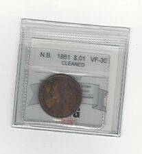**1861**, Coin Mart Graded New Brunswick Large One Cent, **VF-30 Cleaned**