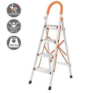 New Non-slip 4 Step Aluminum Ladder Folding Platform Stool 330 lbs Load Capacity