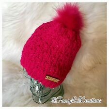New Tan Bling Hot Pink Color Fashion Hat Faux Fur Beanie Toque Handmade Crochet