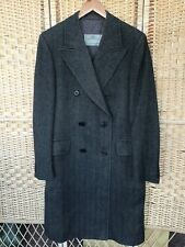 Mens AQUASCUTUM Grey  Wool Tweed Long Jacket Coat Smart Formal Herringbone