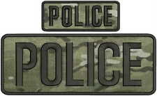 POLICE embroidery patch  4x10 and 2x5 hook MULTICAM