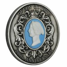 Queen Victoria 200th Anniversary 2019 2oz Silver Antiqued Cameo Coin