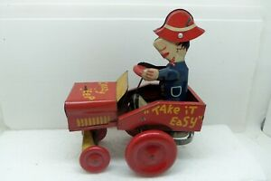Crazy Jeep Wind-Up Tin Lithograph Toy Manufactured by Lawley Toys USA
