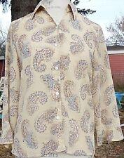 Liz Claiborne Lizsport size M sheer beige button-down blouse paisley pattern