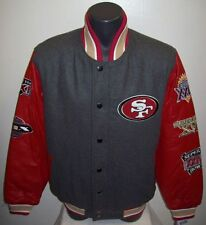 San Francisco 49ERS Super Bowl Championship Wool & Leather Jacket M L