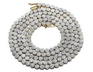 """Men's 10K Yellow Gold Pave 4MM Genuine Diamond Cluster Chain Necklace 9 ct 30"""""""