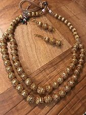 Indian Pakistani Ethnic Bollywood Gold Plated Golden Bead Mala Necklace Pendant