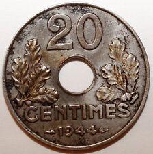 20 Centimes France 1944 en fer rare (W151)