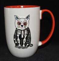Spectrum Sugar Skull Cat Kitty Mug Skeleton White Halloween Goth 16 Oz NEW
