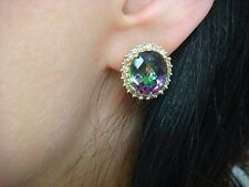 14K YELLOW GOLD 12 CT MYSTIC TOPAZ AND 1 CT HALO DESIGN DIAMONDS LADIES EARRINGS