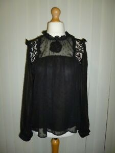 BNWT Ladies Gorgeous NEW LOOK Black Lace Detail Top - Size 16