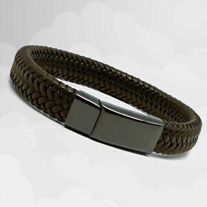 Mens Brown Leather Braided Bracelet - Magnetic Steel Clasp - Mens Gift Bracelet