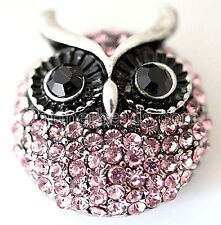 Silver Owl Pink Rhinestone 23mm Snap Interchangeable Jewelry For Ginger Snaps