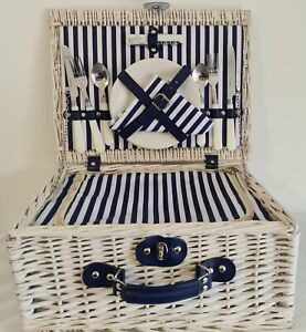 Gorgeous Blue & White Nautical Picnic Basket for 2 People with Insulate