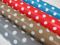 Lifestyle Polka Dot Tablecloth Vinyl PVC Oilcloth WipeClean Fabric Cafe Kitchen