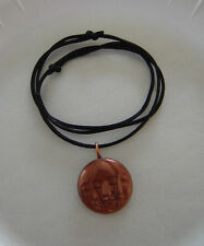 Triple Moon Face Pendant Necklace Choker Copper Color Pagan, Goddess Jewelry