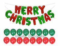 "16"" Merry Christmas Foil Balloons Gold Silver HOHOHO Merry Xmas Baloons Ribbons"