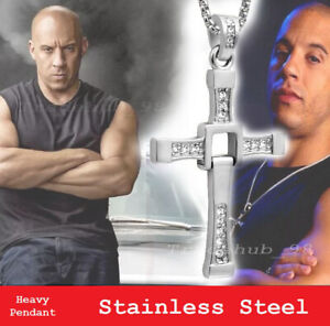 Fast and Furious Dominic Toretto Cross Pendant Necklace Heavy Stainless Steel CZ