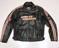 Harley Davidson Men's Torque Orange Stripes Black Leather Jacket XL 98114-06VM
