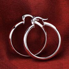 "Medium-Size Round Hoop Earrings E1 Women's Classic 925 Sterling Silver 1.75"""