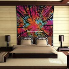 Tie Dye Tree Of Life Wall Hanging Tapestry Indian Single Size Bedspread Bedding