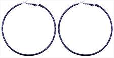 6cm black hoop earrings with twist pattern