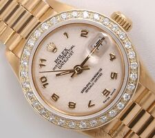 Rolex Lady President 18k Yellow Gold 26mm Watch-Ivory Arabic Dial-Diamond Bezel