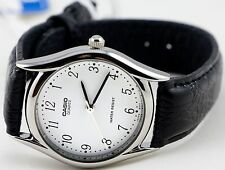 Casio MTP1094E-7B Men's White Analog Watch Black Leather Band Number Quartz New