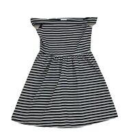 Mango Womens Size 16 Stretch Plus Size Black and White Stripe A-Line Dress