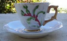 AUSTRALIAN POTTERY HANDPAINTED SIGNED KANGAROO PAW SMALL CUP & SAUCER