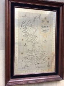 Framed Map rare Sterling Silver Map of Great Britain limited edition with papers