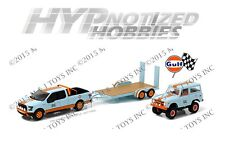 GREENLIGHT 1:64 HITCH & TOW RACING GULF FORD F-150 & 66 BRONCO TRAILER 51061-A