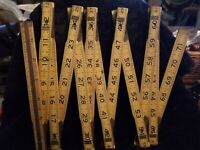 """Vintage Craftsman 72"""" Folding Wood Extension Rule With Brass Insert No. 3927"""