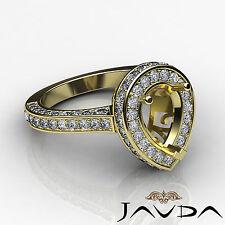 Diamond Engagement Filigree Ring Pear Semi Mount Halo Pave 18k Yellow Gold 1.6Ct
