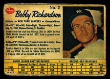 1962 POST CANADIAN BASEBALL #2 BOBBY RICHARDSON VG N Y NEW YORK YANKEES Card