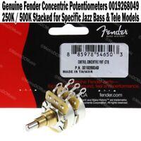 Genuine Fender Concentric 250K / 500K Potentiometers Stacked Vol Tone 0019268049