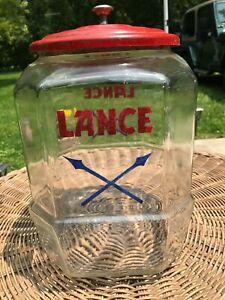 Vintage Glass Lance Display Cracker Candy Jar