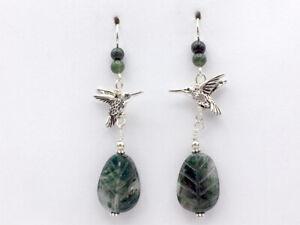 Pewter & Sterling silver hummingbird dangle earrings- Moss Agate leaf, bird