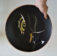 rare céramique en grés émaillé 1950 - LILLE - grand plat signé aux poissons